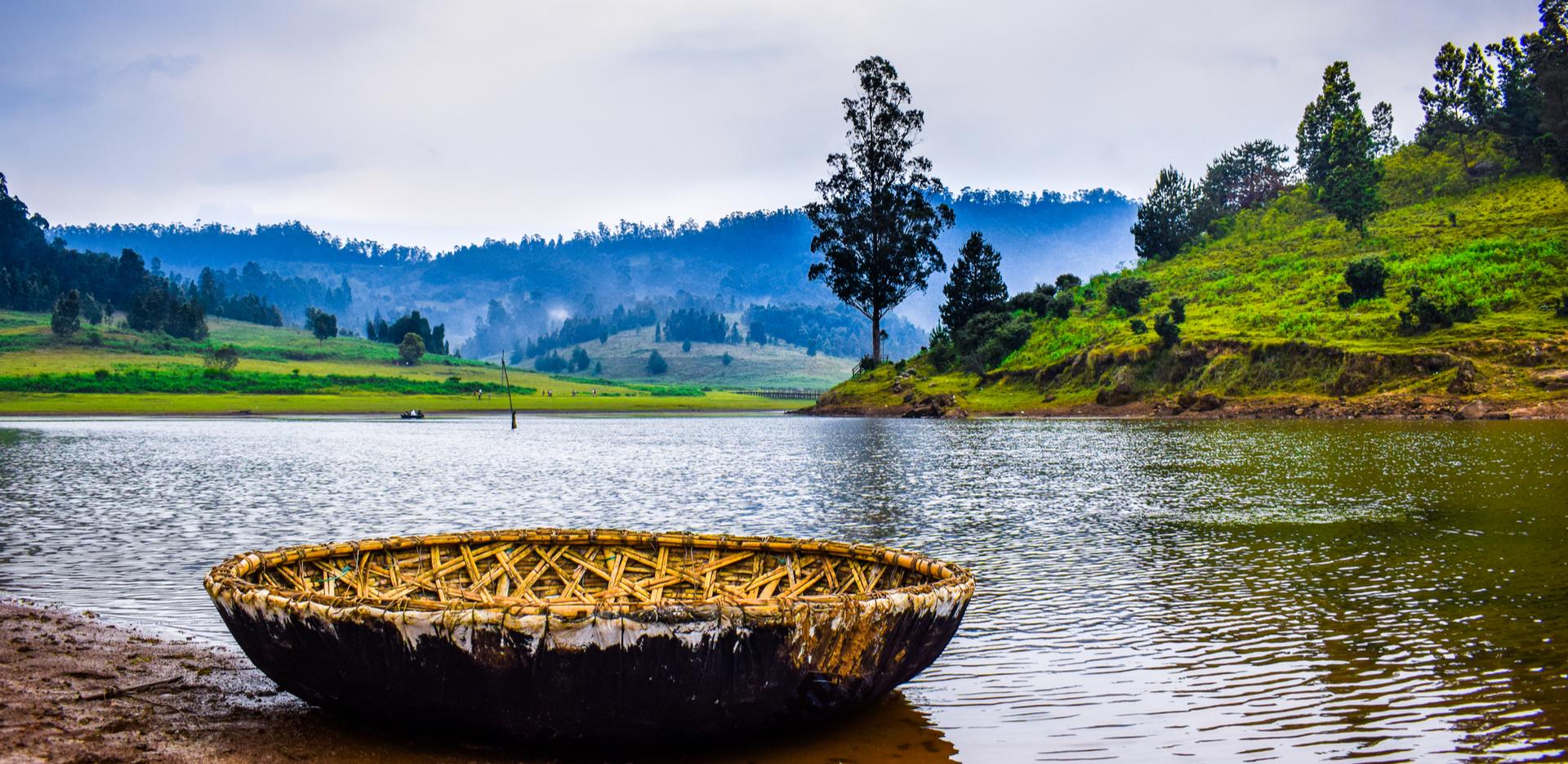 A coracle on a lake in Kodaikanal