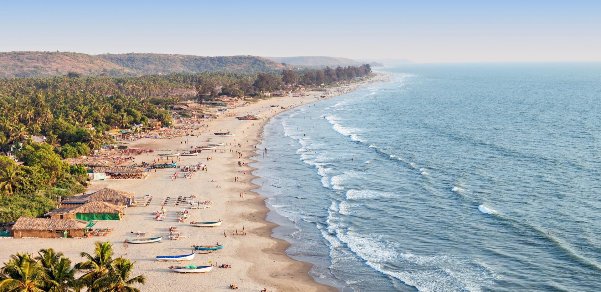 Arambol beach aerial view