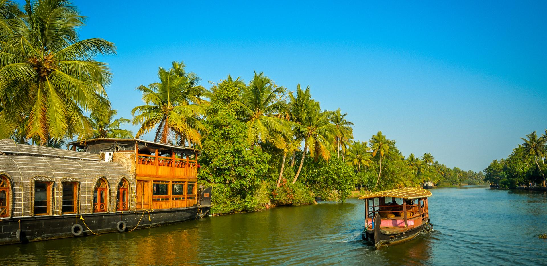 Houseboat on the backwater of Kerala
